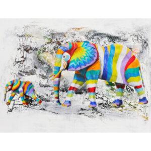Rainbow Elephants on a Black and White Background