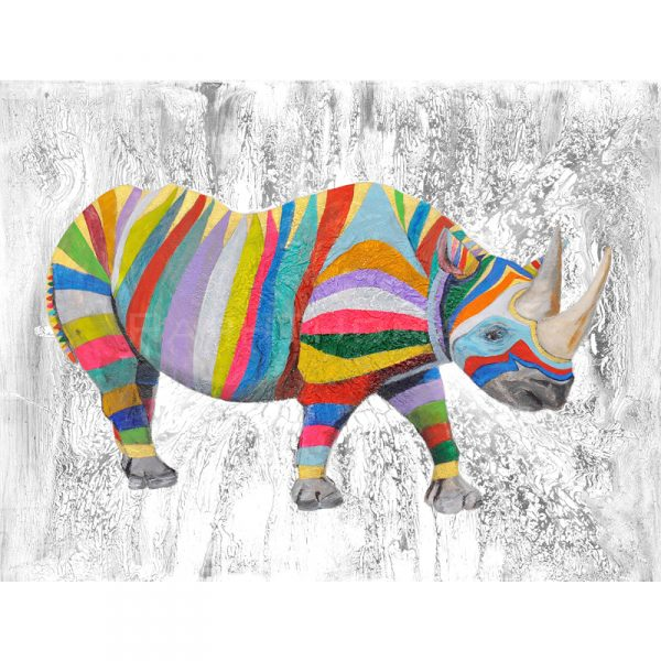 Rainbow Rhino with a Texture Affect