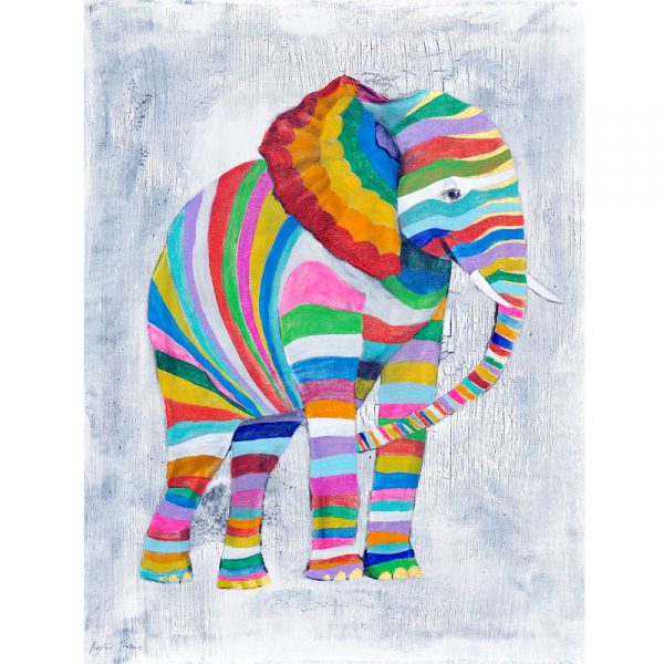 Rainbow Stripy Elephant