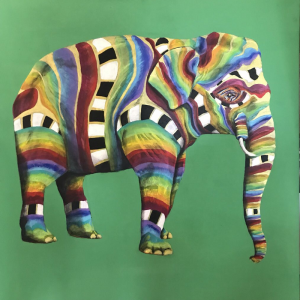 Rainbow Asian Elephant Painting