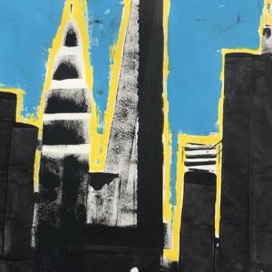 Blue Yellow Sky Cityscape