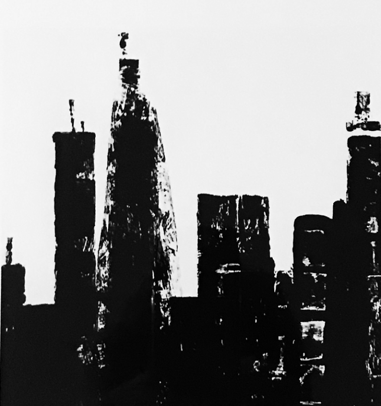 Black and White Skyline Painting
