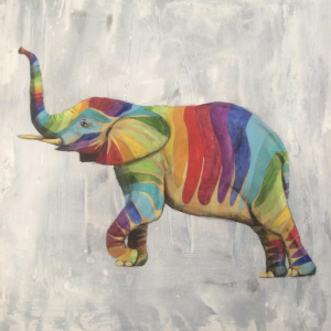 Rainbow Elephant with his trunk up Painting
