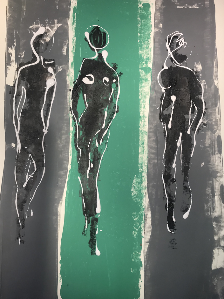 Black and White figures on a green and grey background
