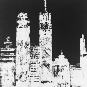 Black and White Night Skyline Painting