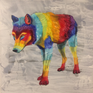 Colourful Rainbow Wolf Painting