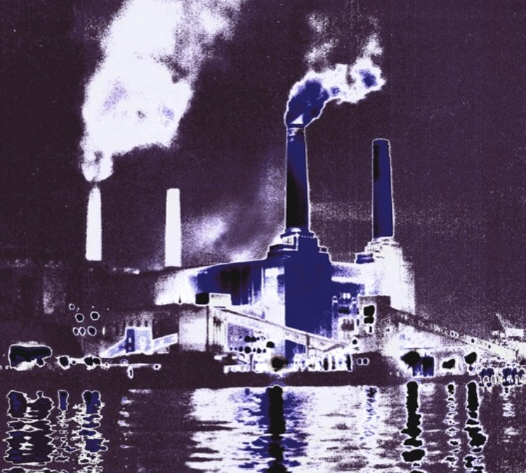 Dramatic Purple Battersea Power Station 1978 Painting