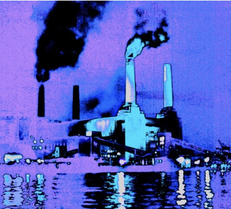 Lilac Aqua Battersea Power Station 1978 Painting