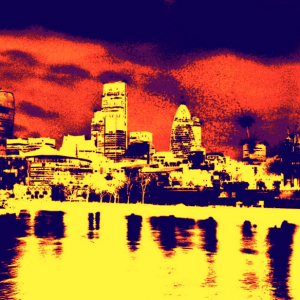 Red Navy London Skyline